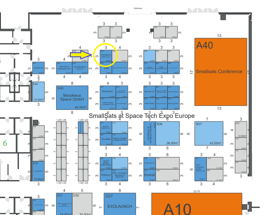 Space Tech Expo Europe 2020 map with Paradigma Technologies stand