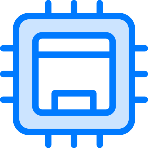 Integrated Circuit icon blue